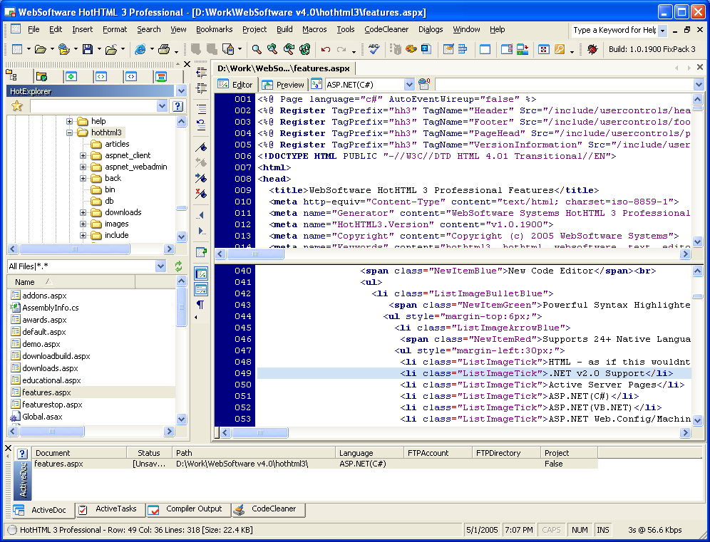 Click to view HotHTML 3 Professional 1.6.3389 screenshot